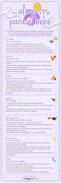 Los alimentos imprescindibles para nuestros bebés! #bebés #consejos…