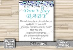 Baby Shower Don't Say Baby Game with blue Jars Sign for Boy - Printable Diaper Pin Mason Jars Game in Blue - Instant Download - mjb by DigitalitemsShop on Etsy