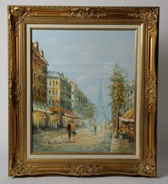 Signed Henry Rogers French Chic Paris Painting Oil Painting with Impasto and Palette Knife Technique Parisian Street with view of the Eiffel TowerOrnate Gilt Wood in x 28 inVery Good Condition Paris Painting, French Chic, Art Auction, Parisian, Palette, Living Room, Signs, Pallet, Novelty Signs