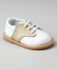 White & Tan Pebble Leather Oxford by Baby Deer on #zulily