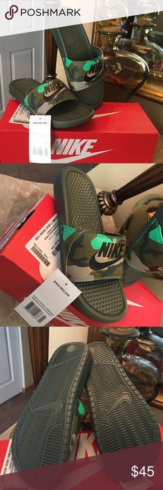 NIKE SLIDES CAMOUFLAGE CUTE KIDS SZ 6 WOMEN SZ 7 NIKE SLIDES CAMOUFLAGE CUTE KIDS SZ 6 WOMEN SZ 7 . Brand new in box very cute and comfy! Nike Shoes Sandals Sporty Outfits, Nike Outfits, Ella Shoes, Cute Slides, Nike Sandals, Nike Kicks, Rubber Sandals, Sock Shoes, New Shoes