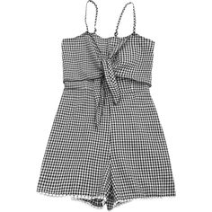 Self Tie Front Cami Checked Romper (21 CAD) ❤ liked on Polyvore featuring jumpsuits, rompers, tie front jumpsuit, tie front romper, cami jumpsuit, romper jumpsuit and tie-front rompers