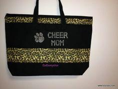 Cheer Mom Cheetah Canvas Bag by Tutunyou on Etsy, $35.00