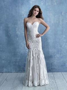 Allure Bridal wedding gown, with textured appliques lining the bodice of this sweetheart, strapless elegant sheath gown. This dress comes in several colors. Available in plus size. Bridal And Formal, Bridal Wedding Dresses, Designer Wedding Dresses, Bridesmaid Dresses, Lace Wedding, Dream Wedding, Allure Bridals, Strapless Sweetheart Neckline, Strapless Dress Formal