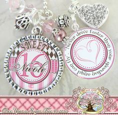 SWEET 16 Gift, Personalized Name Key Chain, Quote, New Driver, Number 16 Charm, Sweet 16, Birthday Gift, Get Well, Personalized Jewelry. $23.50, via Etsy.