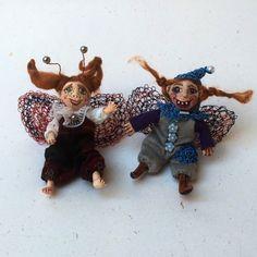 Miniature  OOAK Fairy Doll | Handmade Brooch | Paper Clay Brooch  | Tiny Doll Brooches | Mini Pocket Doll | Clay Jewelry | Clay Doll by DovileDollart on Etsy