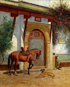 Algérie - Peintre Hongrois, John Lewis Shonborn ( 1852–1931), Huile sur toile, Titre : La visite