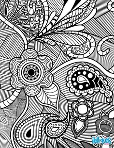 Flowers & Paisley Design coloring page