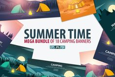 Summer Time and Camp by LeoEdition on @creativemarket