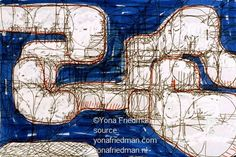 """Ca. 1990""""Sketches to substitute the geometrical pattern as much as technically reasonable. Architecture should not simply be 'applied geometry'.""""(Yona Friedman)"""