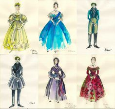 Costume design sketches by Sandy Powell for The Young Victoria Theatre Costumes, Ballet Costumes, Movie Costumes, Victoria Costume, The Young Victoria, Sandy Powell, Costume Design Sketch, Hollywood Costume, Fashion Images
