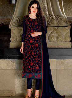 Navy Blue Georgette Churidar Salwar Suit 85069
