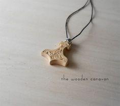Wooden Mjölnir pendant // Thor Hammer pendant by TheWoodenCaravan