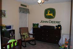 Painted John Deere logo for a little boys room