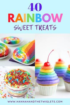 Looking for some beautiful rainbow sweet treats to make? Here are 40 amazing colourful recipe ideas! Perfect for parties, desserts, St Patrick's Day celebrations or just as yummy sweet treats! Yummy Snacks, Yummy Treats, Delicious Desserts, Sweet Treats, Rainbow Treats, Rainbow Food, Cookie Recipes, Dessert Recipes, Baking With Kids