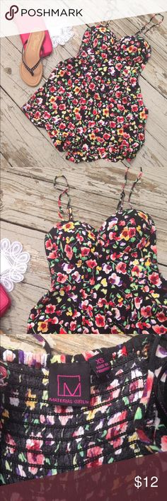 Material Girl Black Floral Romper sz XS Like new really cute romper- I bought from another posher and it just didn't fit me! Trades, holds or transactions off of Posh! ✅Bundle Discount! ✅ New items added daily ✅Treat with bundles ✅making offers! Material Girl Pants Jumpsuits & Rompers