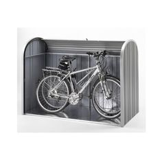 Biohort StoreMax Metal Storage Unit is a strong box made from aluminium and steel. Available in 3 sizes: 190 and 3 colours: silver, quartz grey and dark grey metallic, all with silver aluminium shutters and a guarantee! Outside Bike Storage, Bicycle Storage Shed, Outdoor Bike Storage, Bike Shed, Garage Storage, Garden Tool Shed, Garden Tool Storage, Bike Locker, Bike Shelter