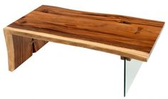 Modern Wood Coffee Table with Glass. I think come up with a metal alternative for the glass, but I dig the design.