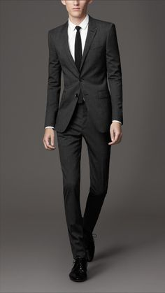 Alan. Burberry slim fit virgin wool Prince of Wales check suit in Charcoal. (1,495 USD excluding tailoring)