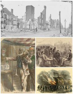 Reconstruction Era: The ruins of Richmond, Virginia after the American Civil War, newly freed African Americans voting for the first time in 1867,[1] Office of the Freedmen's Bureau in Memphis, Tennessee, Memphis Riots of 1866