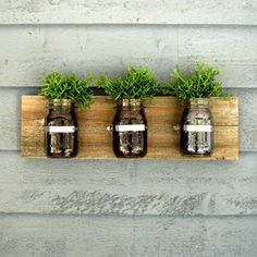 Mount mason jars on the wall for a natural look.