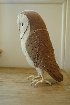 Large barn owl soft sculpture / textile art / made to por willowynn