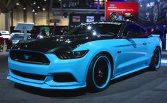 Ford highlights Mustang concepts at 2014 SEMA show Blue Mustang, New Ford Mustang, Ford Mustangs, Mustang Cars, Ford Gt, Blue Cars, Shelby Gt, Lamborghini Cars, Car Goals