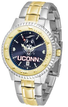 Connecticut Huskies Men Or Ladies Competitor Two-Tone Watch With Anochrome Dial