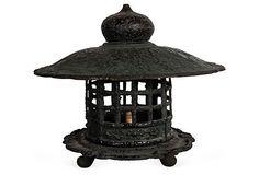 HOME DECOR – ILLUMINATION – CANDLE LANTERN – Japanese Lantern. 1950s table lamp with shade and detachable base.