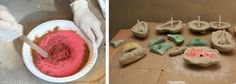 DIY Rock Climbing Holds - molded resin covered in clay