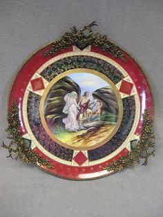 """Royal Vienna  (Austria) —  Porcelain & bronze plate,  20"""" diameter plus handles  (600x800)"""