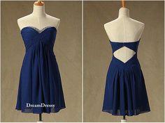 Short royal blue chiffon dress sweetheart backless by DreamDressy, $95.99