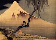 Katsushika Hokusai - Mt Fuji et enfant jouant de la flûte ( vers 1839 ).