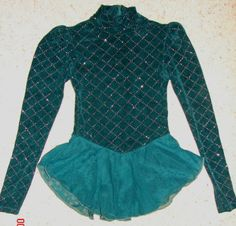 Girls ICE SKATING DRESS Costume (Child Size MEDIUM 8/10 M) L/S GREEN with Silver