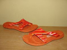 Tsubo Women's Shoes 8320-Red Orange Combo Slides Thong Sandals Comfort Size 8 #Tsubo #Slides #CasualBeach