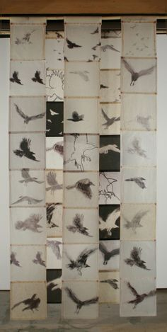 Kyugee IV - Bird Screen | Catherine Eaton Skinner. Tibetan Paper, Beeswax, Thread, Bamboo