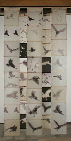 Kyugee IV - Bird Screen | Catherine Eaton Skinner. Tibetan Paper, Beeswax, Thread, Bamboo