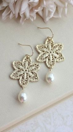 Matte Gold Plated Snowflake Lace Filigree Earrings
