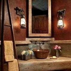 Small Rustic Bathroom - Lantern lights, stone counter