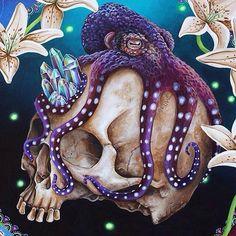 UberNoir — MP Gautheron on Facebook Octopus Drawing, Octopus Painting, Octopus Tattoo Design, Octopus Tattoos, Octopus Art, Skull Painting, Red Octopus, Skull Tattoos, Tatoo Simple