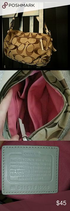 Tan coach purse Adorable tan coach purse with pink lining Coach Bags Shoulder Bags