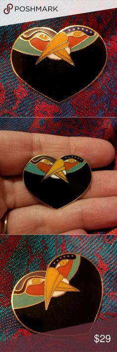 """Vintage Laurel Burch Bird Heart brooch black gold This charming vintage heart brooch by Laurel Burch has two intertwined birds. It is made of gold tone metal with black, turquoise, coral, purple, orange, and white enamel. It is signed on the back. This design appears to be called """"Bird Heart. This pin is in very nice condition with minimal surface wear. From a smoke free home:)    BEEi8188bird9h6d Vintage Jewelry Brooches"""