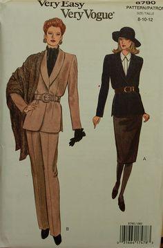 1990s Jacket Pants Skirt & Shawl Vogue Pattern by patterntreasury, $16.95