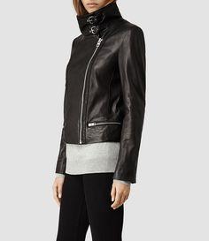 Womens Bales Leather Biker Jacket (Black) - product_image_alt_text_2
