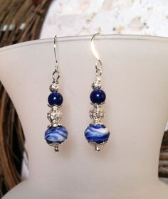 Blue and White Faceted Glass Dangle Earrings with by SmockandStone, $13.00