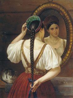 Русский живописец Будкин Филипп Осипович (1806-1850)-Девушка перед зеркалом