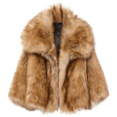 GARBO FAUX FUR COAT (4 425 PLN) ❤ liked on Polyvore featuring outerwear, coats, jackets, fur, faux coat, oversized collar coat, imitation fur coats, brown coat and faux fur coat