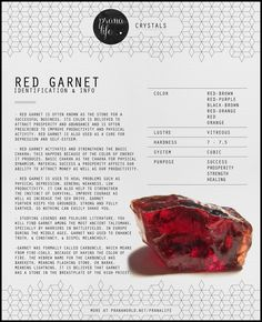 "Garnet, known as ""the Stone of Happiness,"" enhances your internal energies to bring forth an intense level of inner joy while increasing your presence. Garnet is also known to raise your healing power during illness."