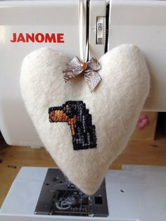 Hanging Fabric Heart hand embroidered with a Gordon Setter on Etsy, £8.50
