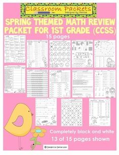 This Common Core aligned Math worksheets packet includes 15 completely black and white worksheets. Each worksheet assesses a Common Core standard for 1st grade Math. Includes cute springtime graphics your students will love. $ 1st Grade Math, First Grade, Grade 1, Second Grade, Easter Worksheets, Math Worksheets, Math Resources, Common Core Math, Common Core Standards